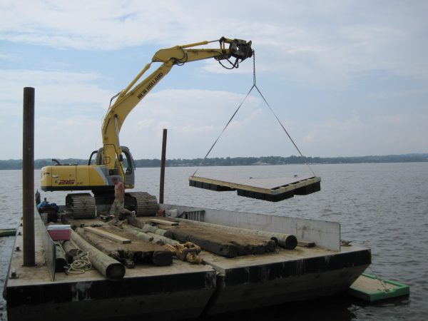 bay pile driving crane marine construction project