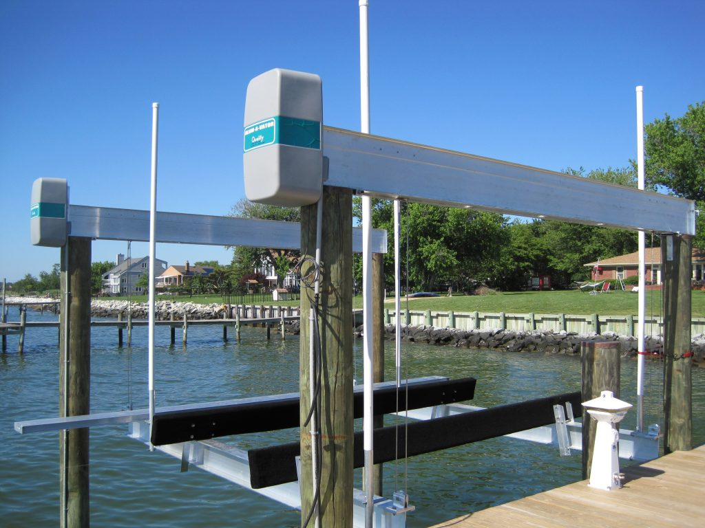 standard Chesapeake Bay boat lift install